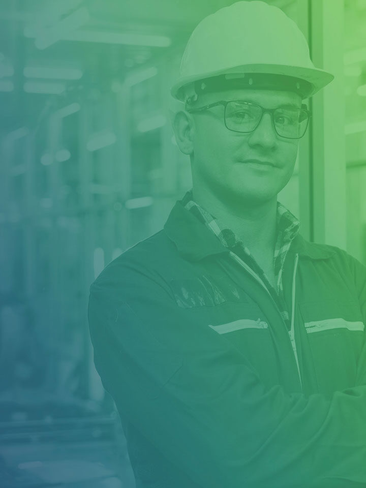 Employee of Mastertime portrait with blue and green gradient overlay